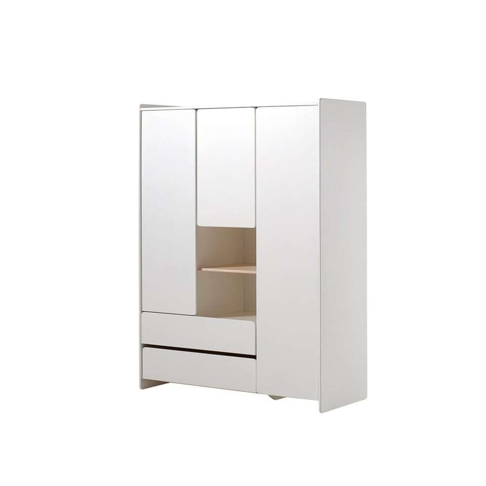 Vipack kleerkast Kiddy 3 deuren en 2 lades - wit - 138x190x54 cm