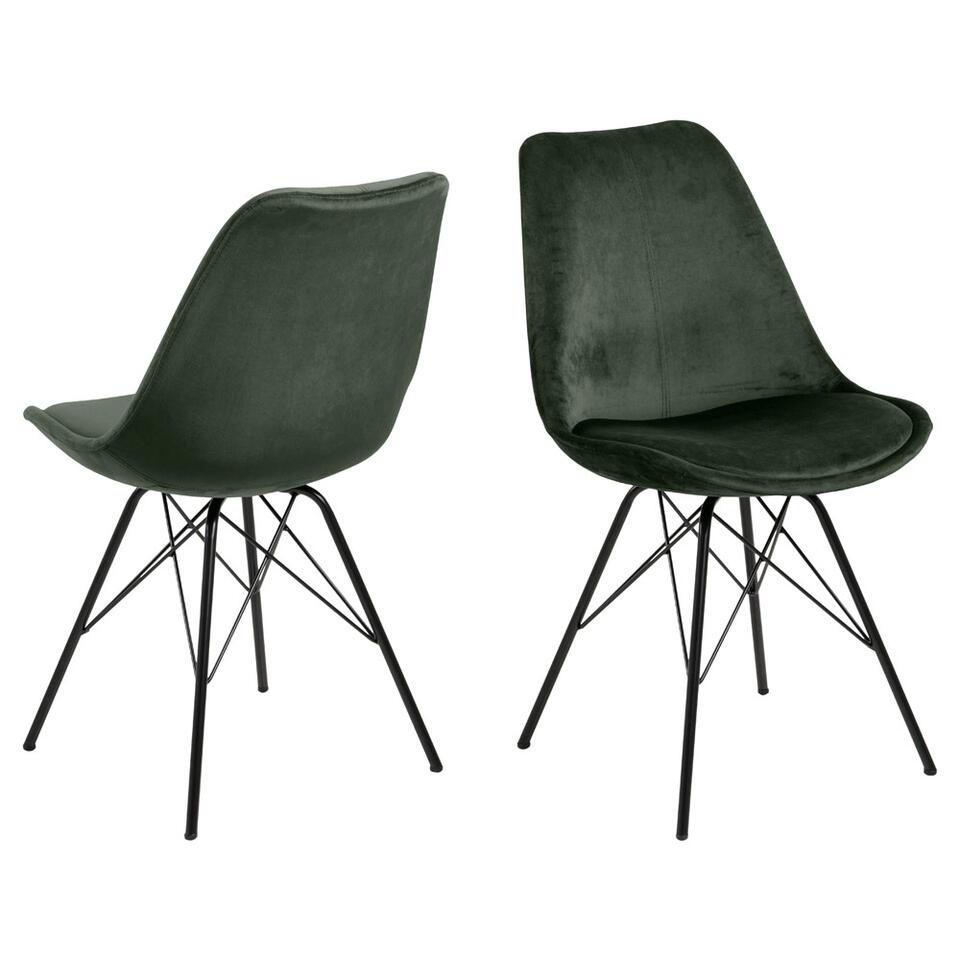 Chaise de salle à manger Bonn (2 pièces) - velours - verte