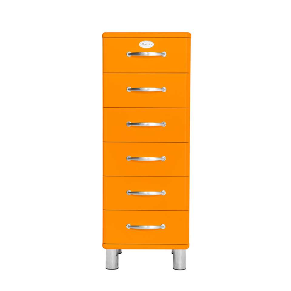 Tenzo commode Malibu 6 tiroirs - orange - 111x41x41 cm