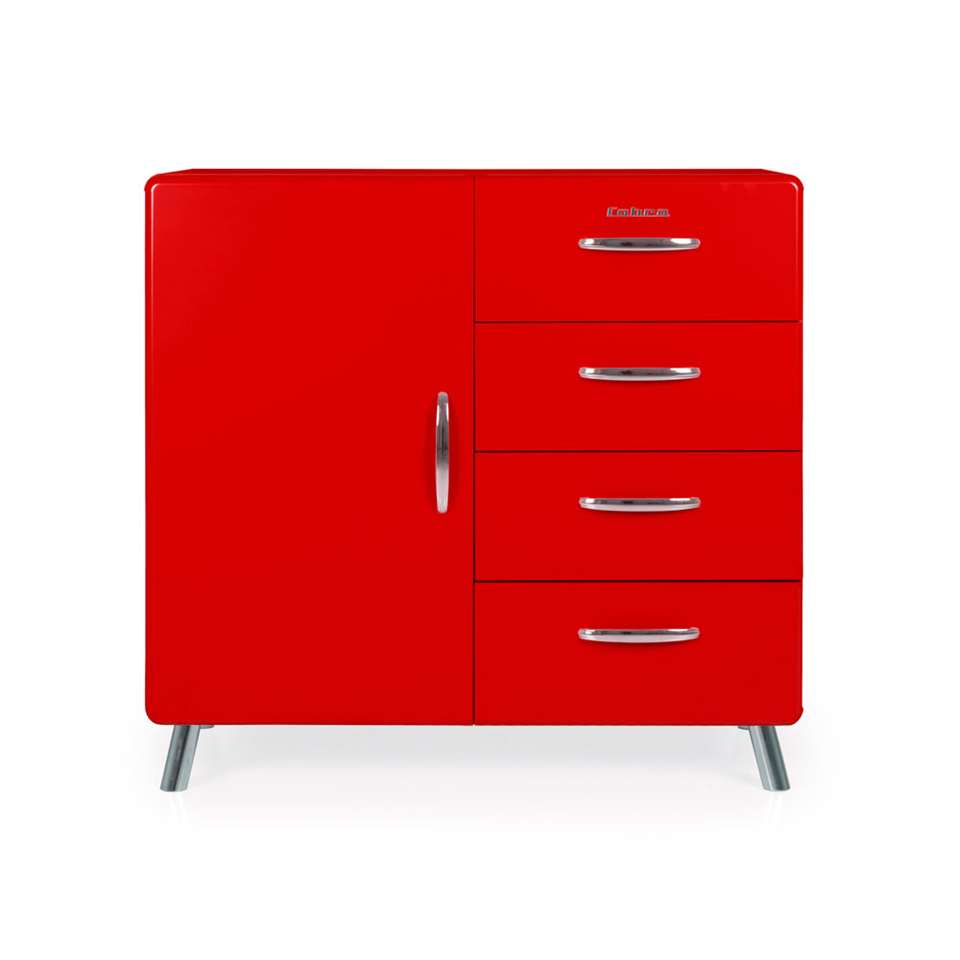 Tenzo commode Cobra 4 tiroirs/1 porte - rouge - 92x98x43 cm