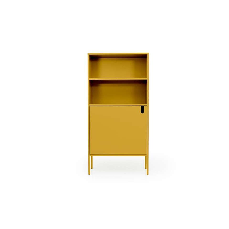Tenzo wandkast Uno 1-deurs - mosterdgeel - 152x76x40 cm