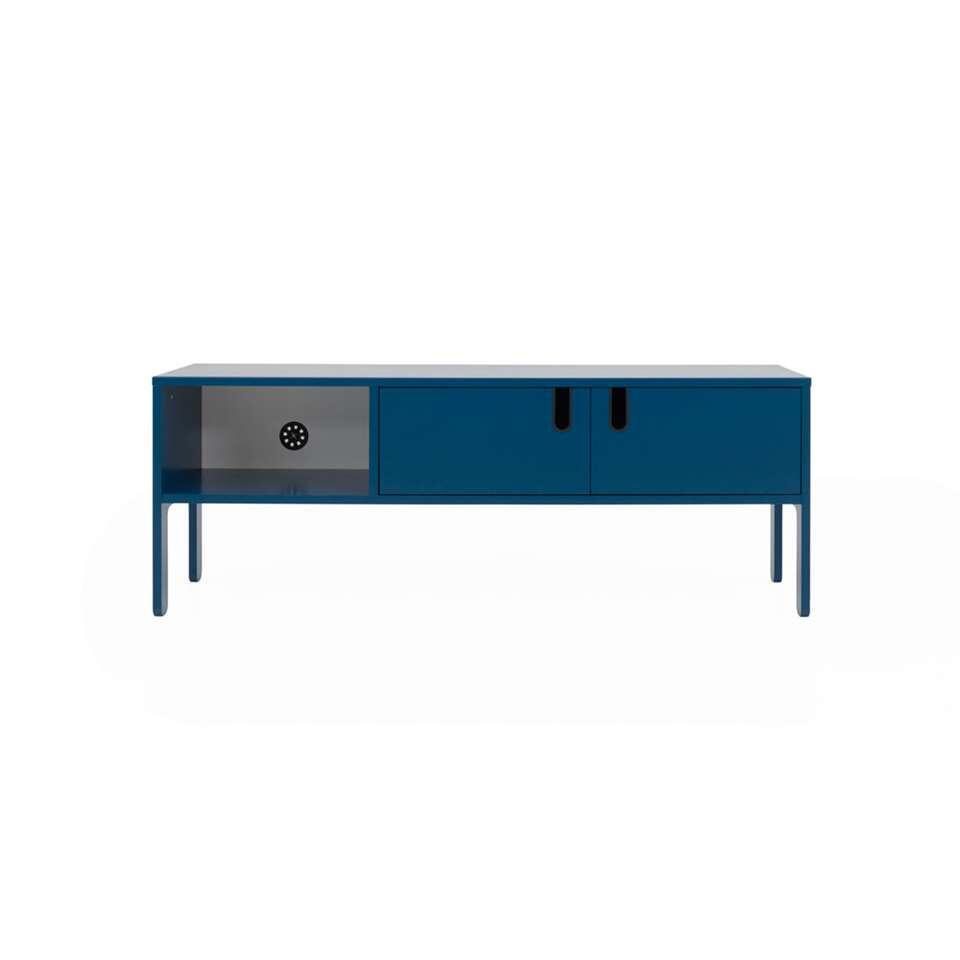 Tenzo Meuble Tv Uno 2 Portes Bleu Pétrole 50x137x40 Cm