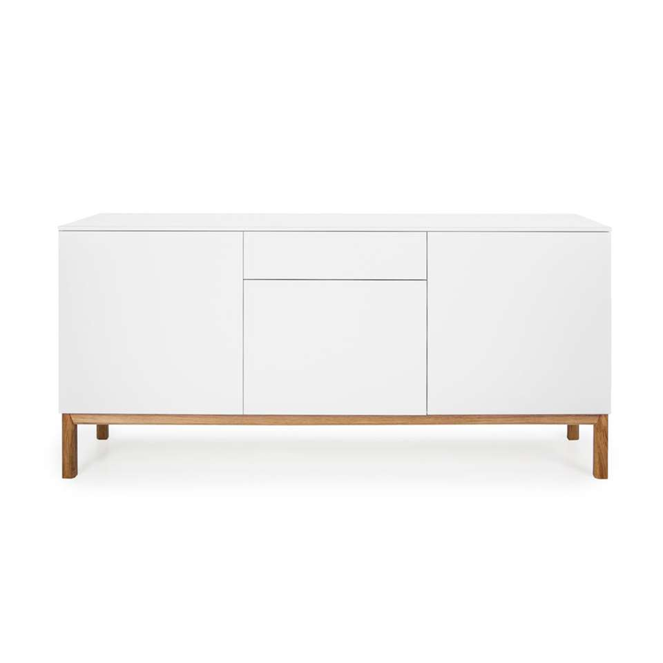 Tenzo dressoir Patch 3 portes et 1 tiroir - blanc/couleur chêne - 85x179x47 cm