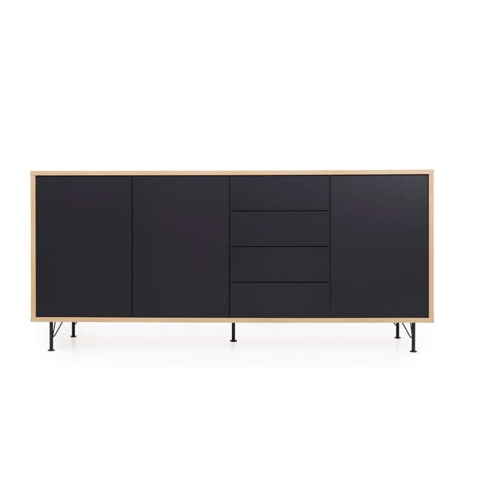 Tenzo dressoir Flow 3 portes et 4 tiroirs - couleur chêne/noir - 98x217x54 cm