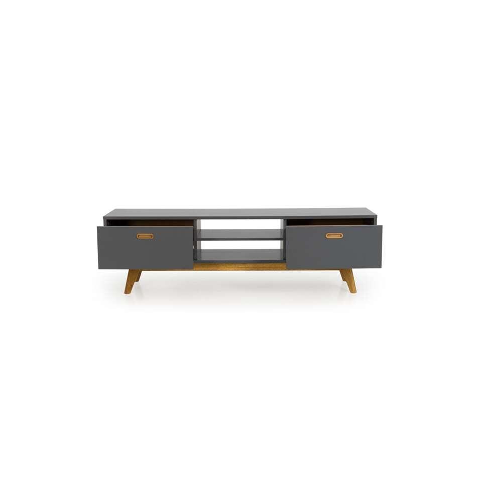 Tenzo tv-meubel Bess - grijs/eikenkleur - 50x170x43 cm