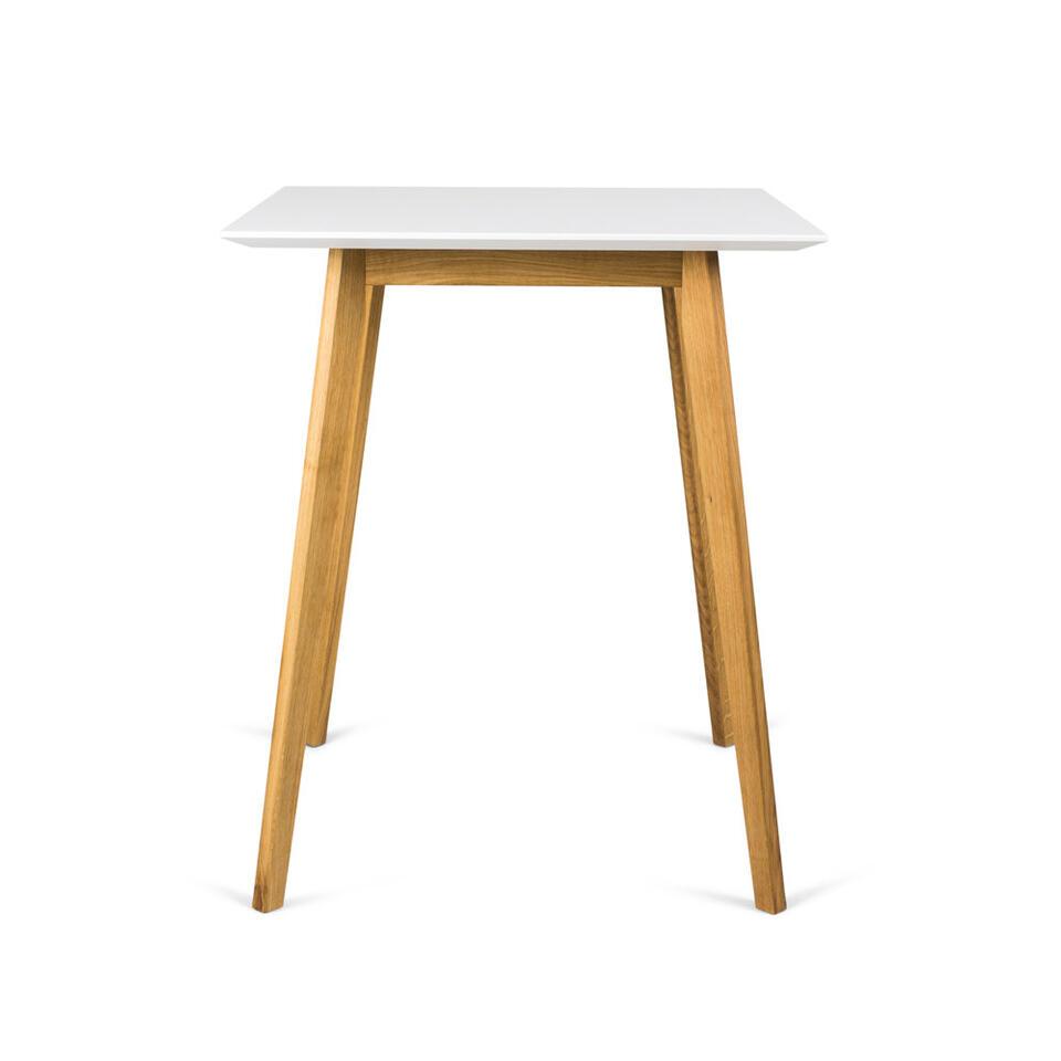 Tenzo table bar Bess - blanche/couleur chêne - 95x80x80 cm