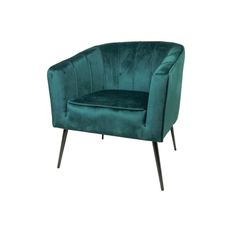 HSM Collection fauteuil Chester - fluweel - donkergroen