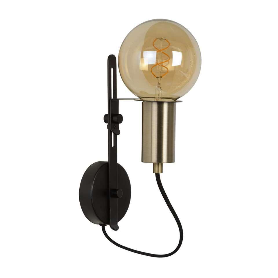 Lucide wandlamp Malcolm is zwart en goud van kleur en gemaakt van staal. De lamp heeft een futuristisch en tegelijkertijd modern en strak design.