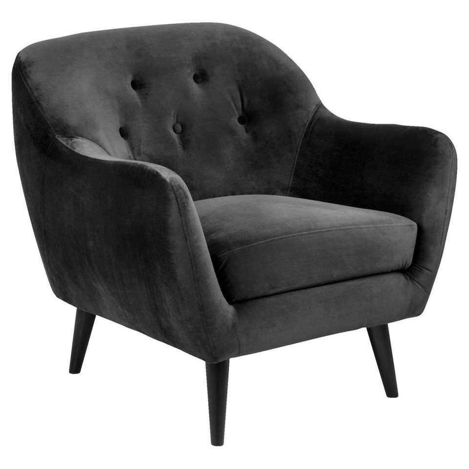 Fauteuil Lucera - tissu Letto - couleur anthracite