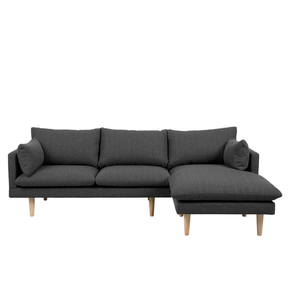 Canapé d'angle 1é droite Invik - tissu Portland - gris