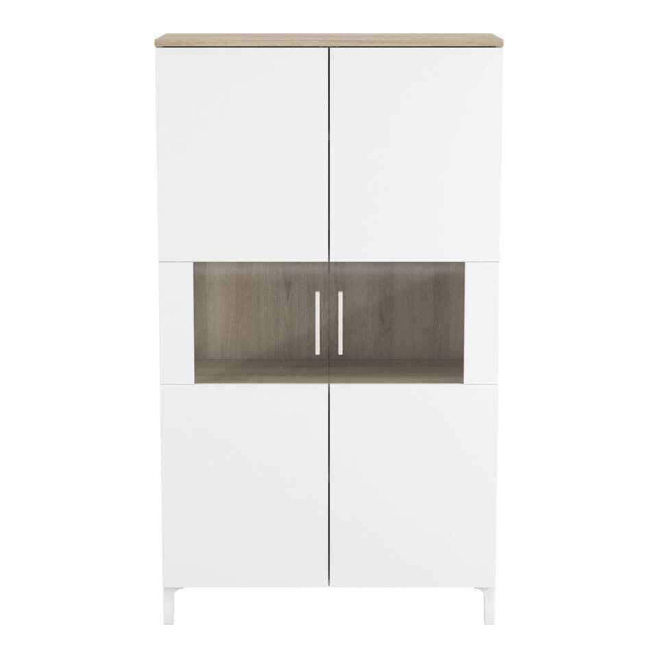 Demeyere meuble mural Elance - couleur chêne/blanc mat - 140x79,8x38,2 cm