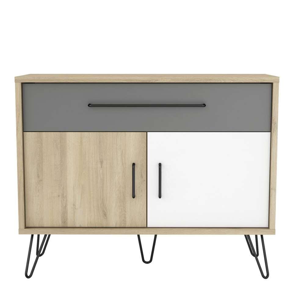 Demeyere dressoir Genk - couleur chêne/blanc/gris - 81,5x102,4x42,4 cm