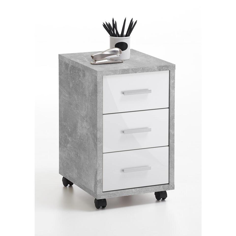 Bloc-tiroirs Nils - 3 tiroirs - couleur béton/blanc