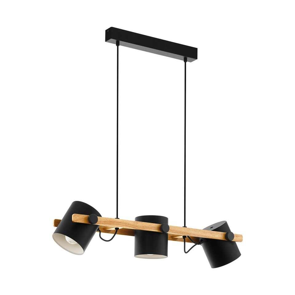 EGLO hanglamp 3-lichts Hornwood - zwart/goudkleur