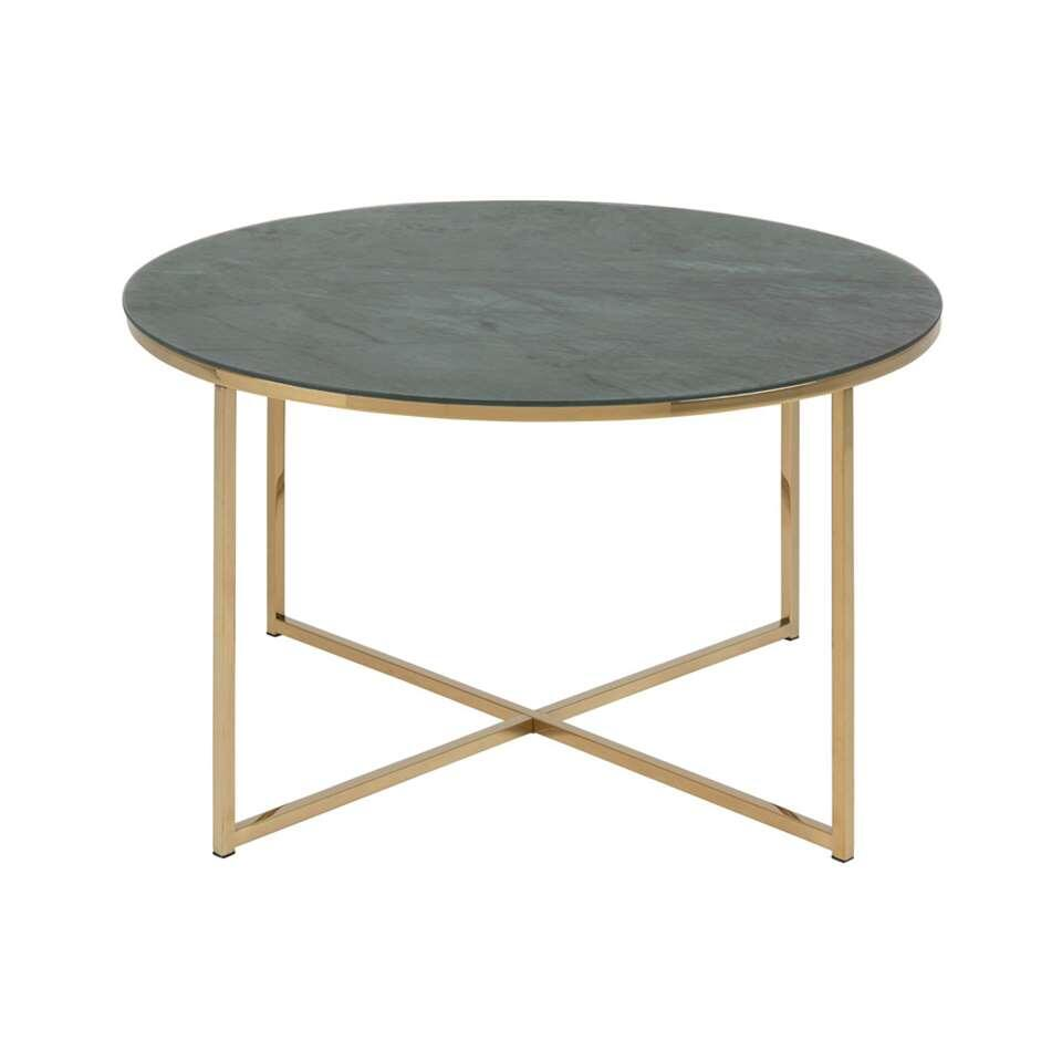 Table basse Ostana - coloris vert/or - 45x80 cm