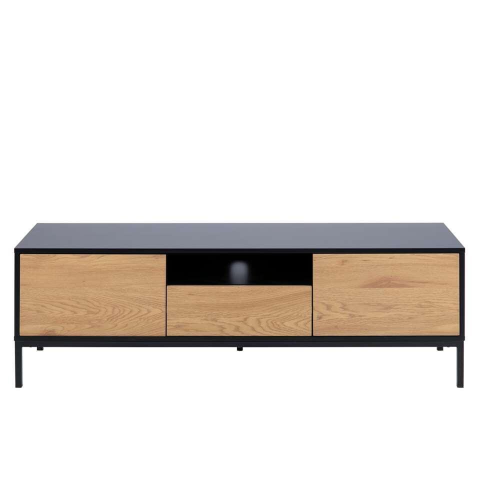 Meuble TV Avola - noir/couleur chêne - 45x140x40x40 cm