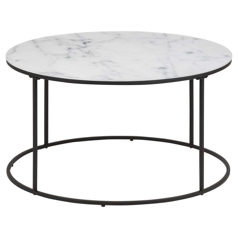Table basse Lousa - dessin marbré/noire - 44x80 cm