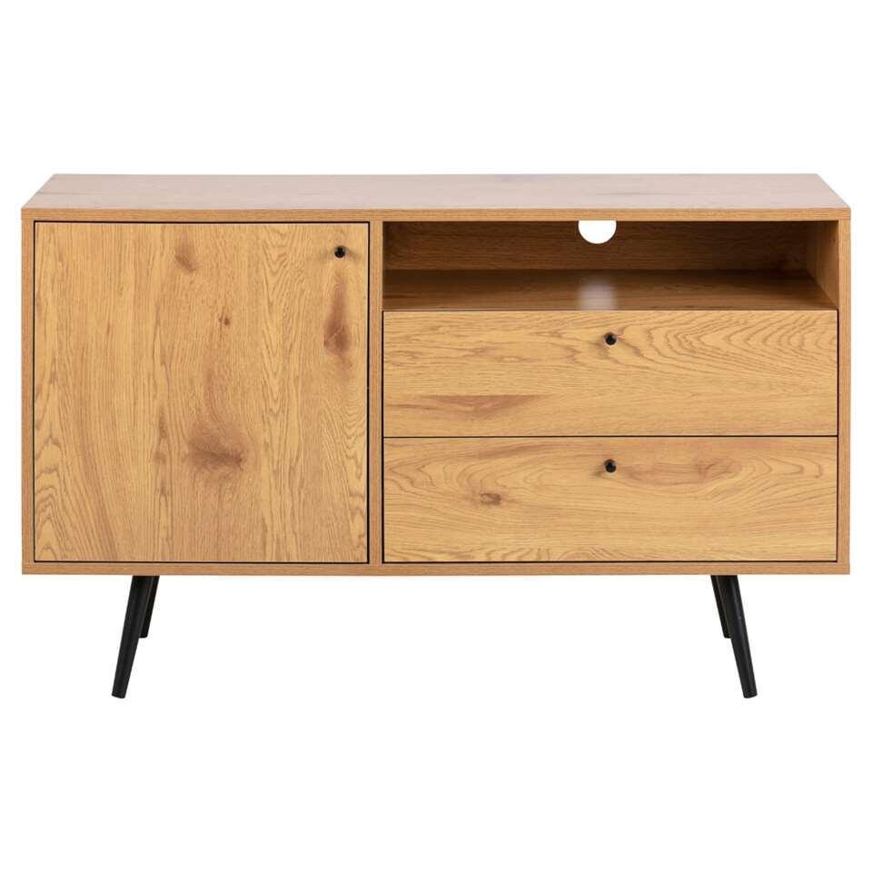 Dressoir Melfi - couleur chêne/noir - 75x124x40 cm