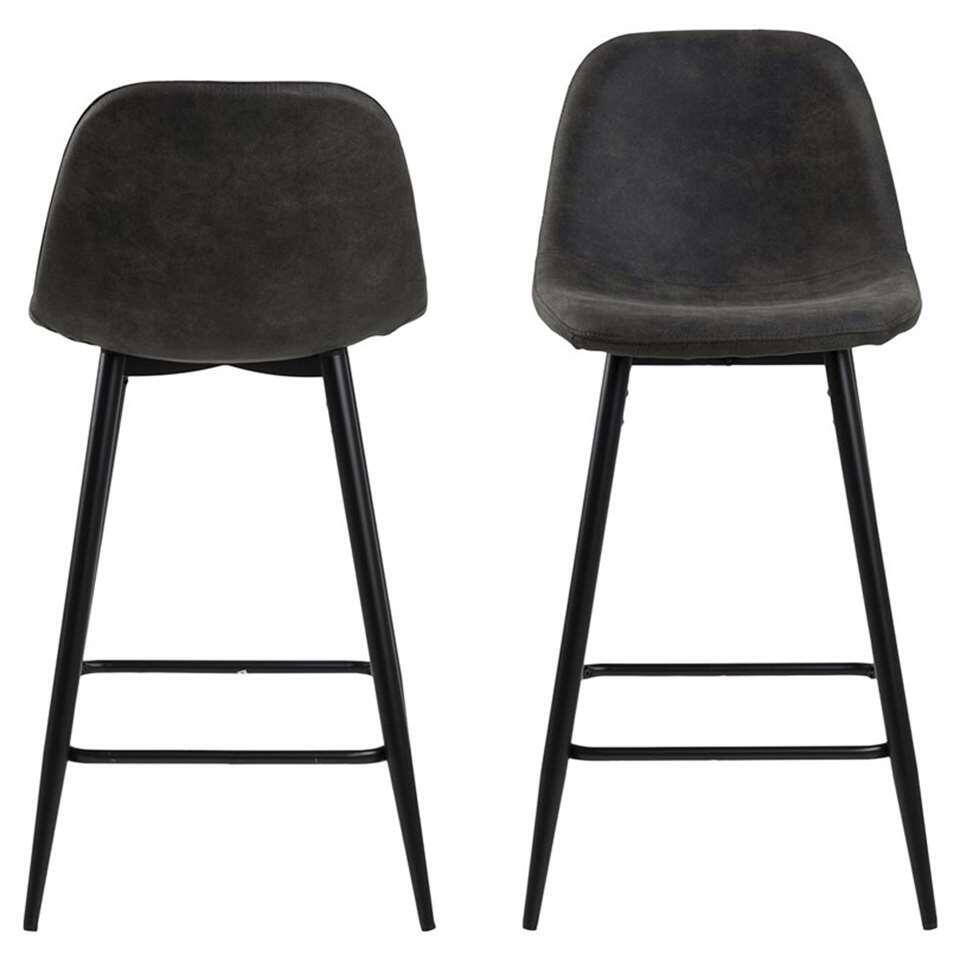 Barkruk Viksmom is een moderne stoel met een antracietgrijze zitting. De hoge poten zijn uitgevoerd in metaal en hebben een houtprint. Deze barkruk met Scandinavisch uiterlijk wordt per twee stuks geleverd.