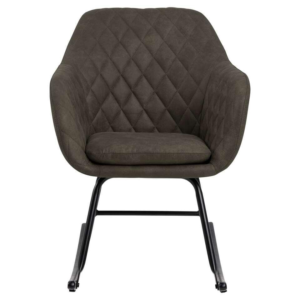 Schommelstoel Anada is een echte eyecatcher in uw interieur! De stoel is bekleed met een olijfgroene stof en zit erg comfortabel. De meubelstof genaamd Preston is een slijtvaste en zeer comfortabele stof.