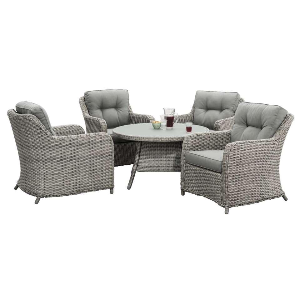 Le Sud loungeset met ronde tafel Denia - 5-delig - Leen Bakker