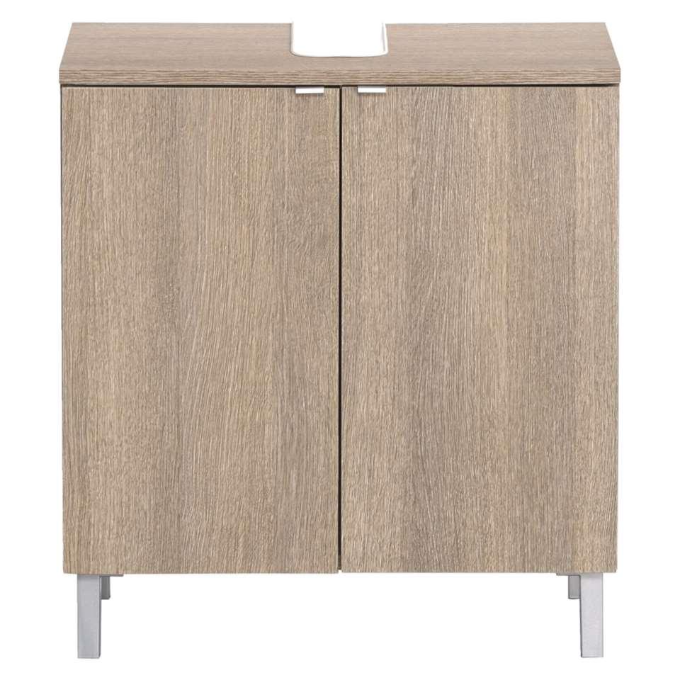 rangement sous lavabo milaan couleur ch ne fonc 65x60x34 cm. Black Bedroom Furniture Sets. Home Design Ideas