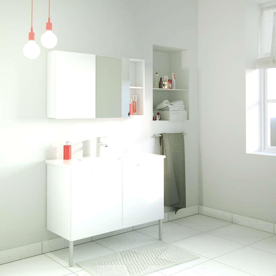 meuble sous lavabo river avec lavabo et rangement miroir blanc. Black Bedroom Furniture Sets. Home Design Ideas