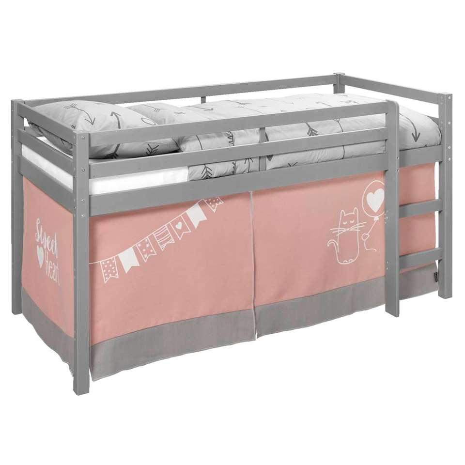 lit surlev ties gris avec tente de lit sweet heart - Tente De Lit
