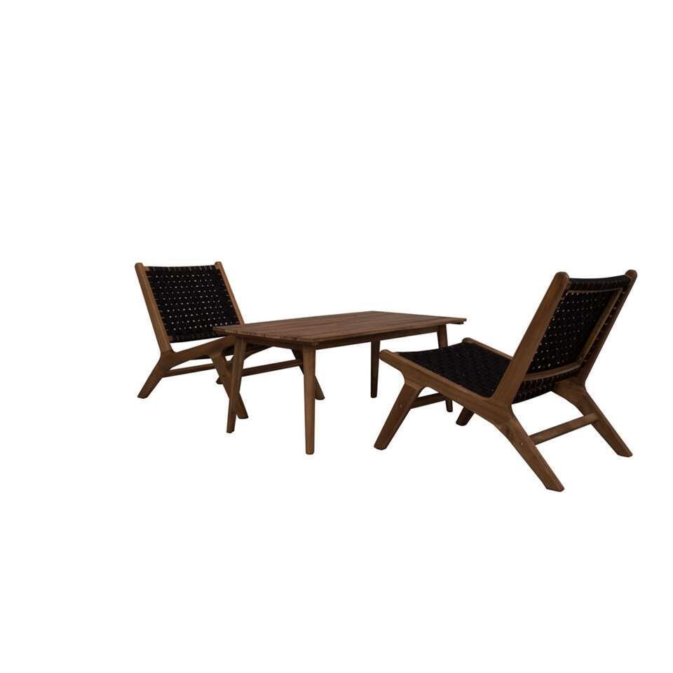 Loungeset Natal met 2 stoelen - zwart - 3-delig - Leen Bakker