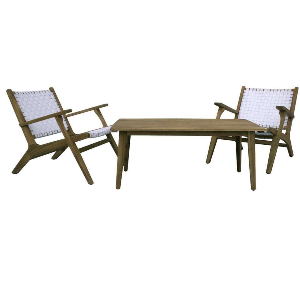 Loungeset Natal met 2 stoelen - wit - 3-delig - Leen Bakker