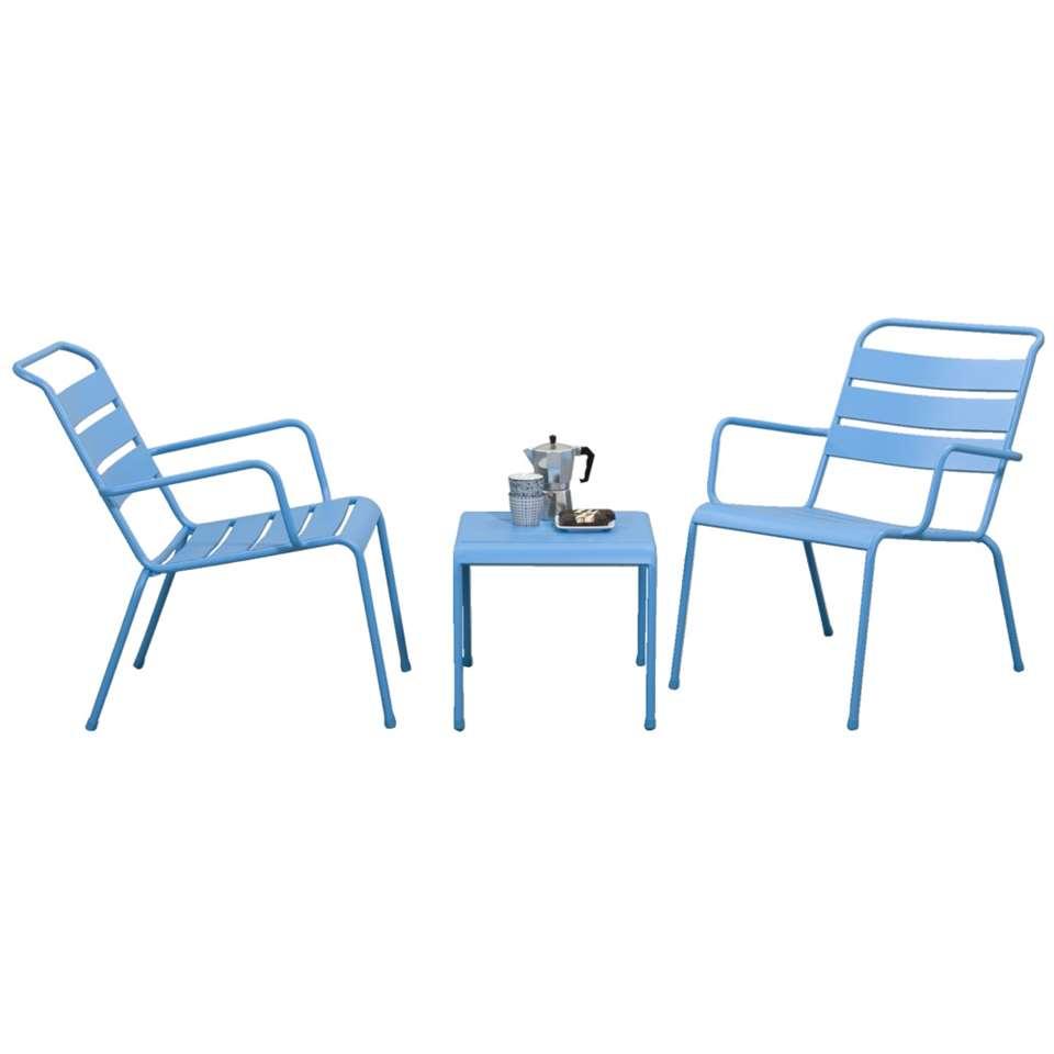 Loungeset Fortaleze 3-delig - blauw - Leen Bakker