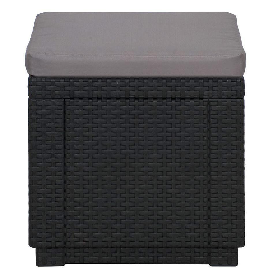 Allibert hocker/voetenbankje Cube - grijs (met kussen) - Leen Bakker