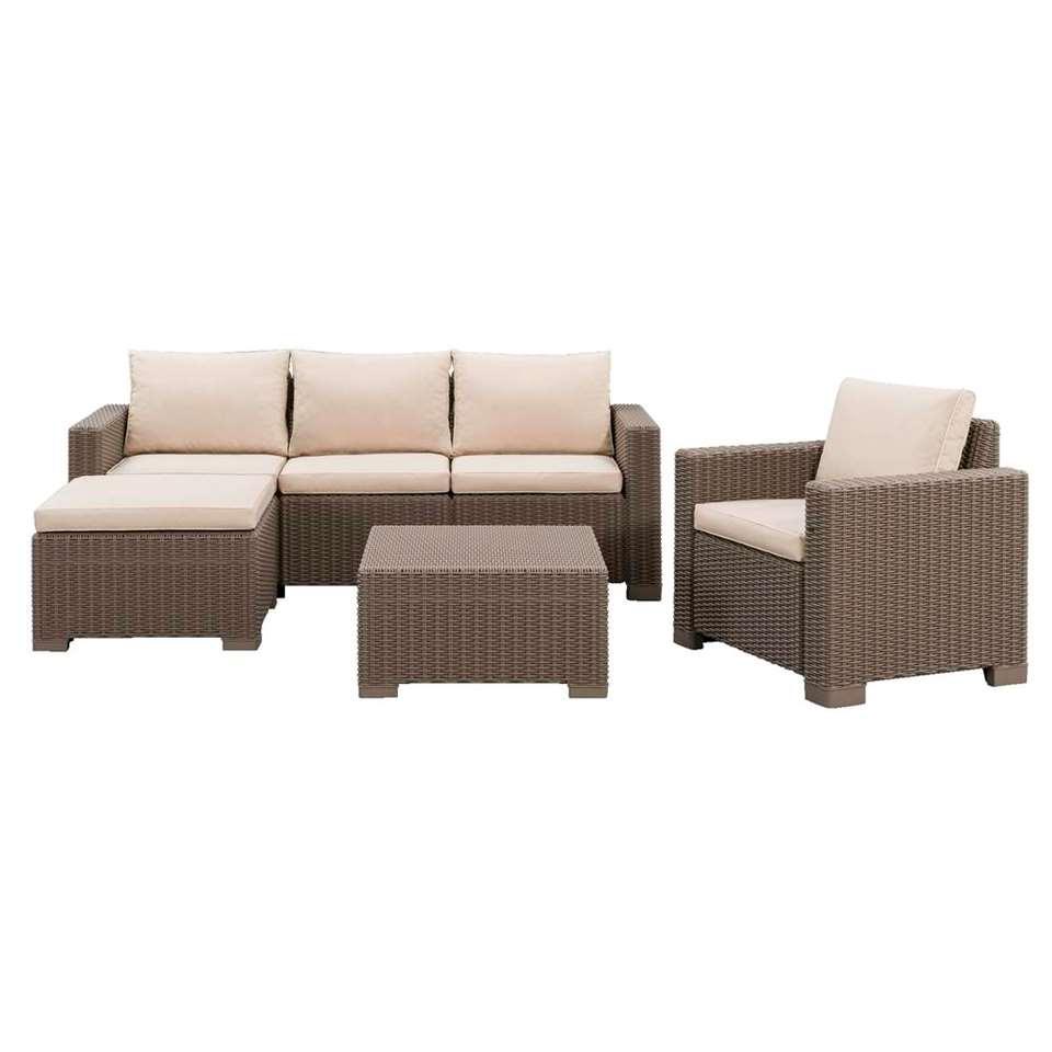 Allibert salon lounge California - couleur cappuccino - 4 pièces