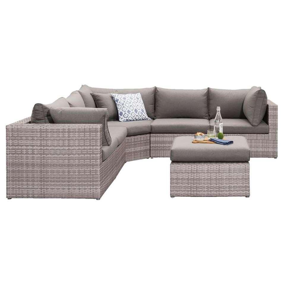Le Sud loungeset met hoekzetel Ancona V5 - lichtgrijs - 6-delig - Leen Bakker