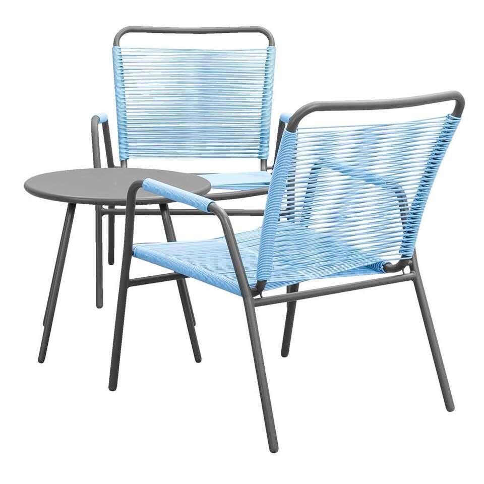 Loungeset Cartagena Vilanova - grijs/blauw - 3-delig - Leen Bakker