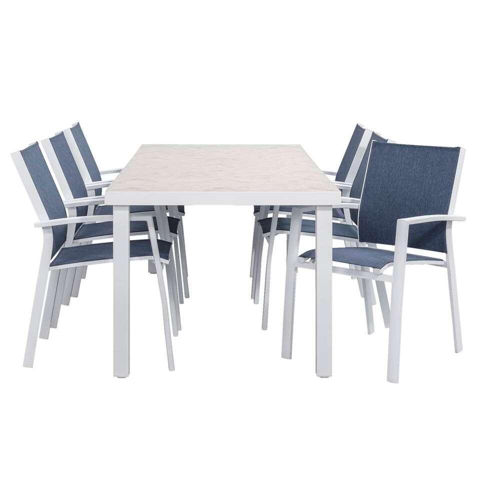 Le Sud salon de jardin Toulon chaise empilable - bleu/blanc - 7 pièces