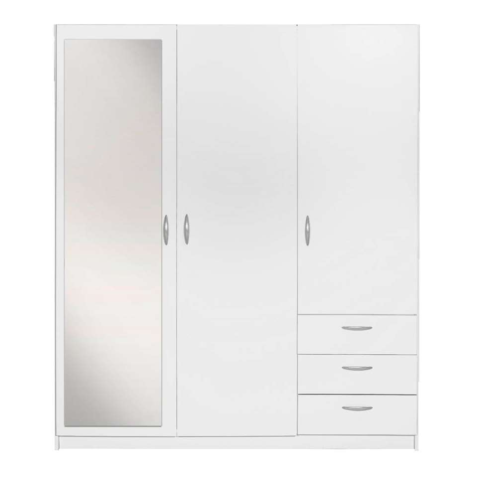Armoire Varia 3 Portes Avec Miroir Blanc 175x146x50 Cm