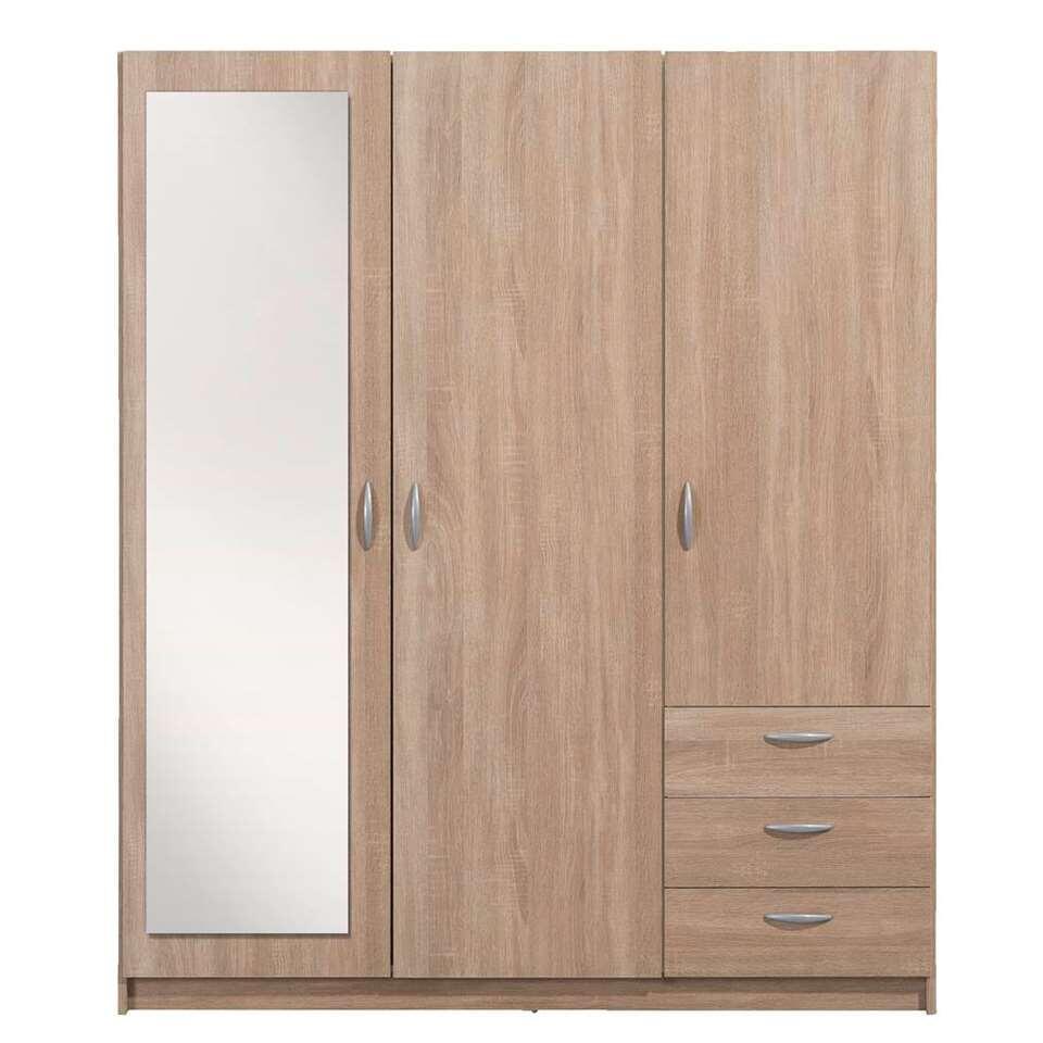 Kleerkast Varia 3-deurs inclusief spiegel - eikenkleur - 175x146x50 cm