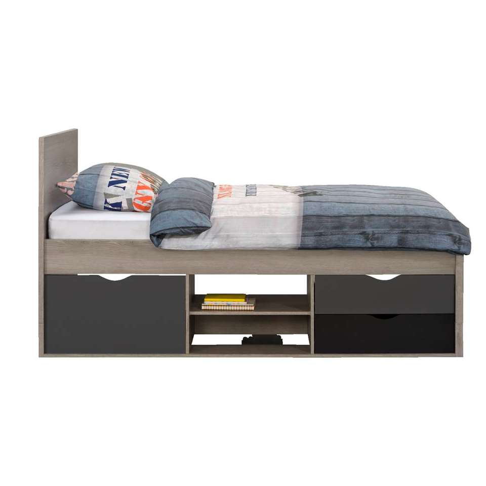 Bed Tempo incl. bedverhoger - grijs eikenkleur - 90x200 cm