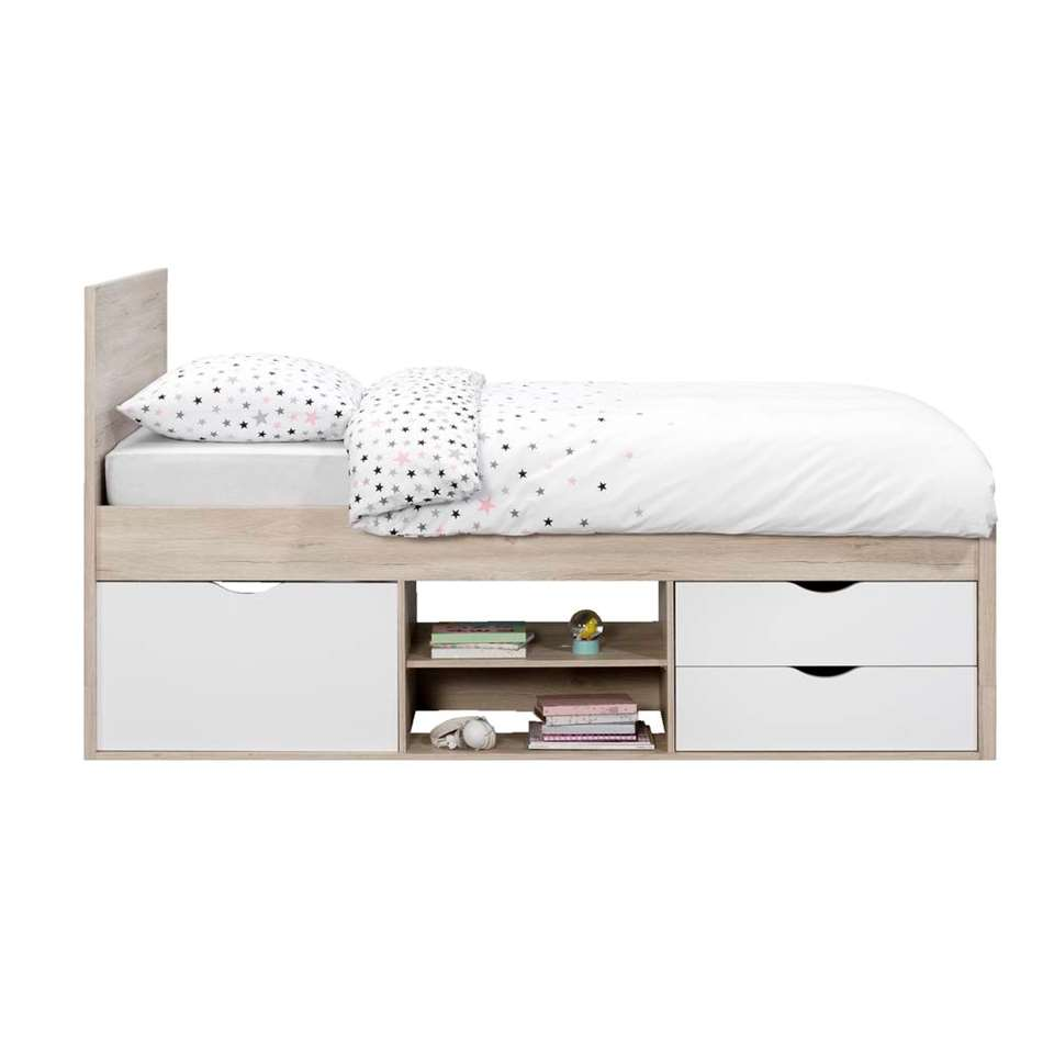 Bed Tempo incl. bedverhoger - eikenkleur - 90x200 cm