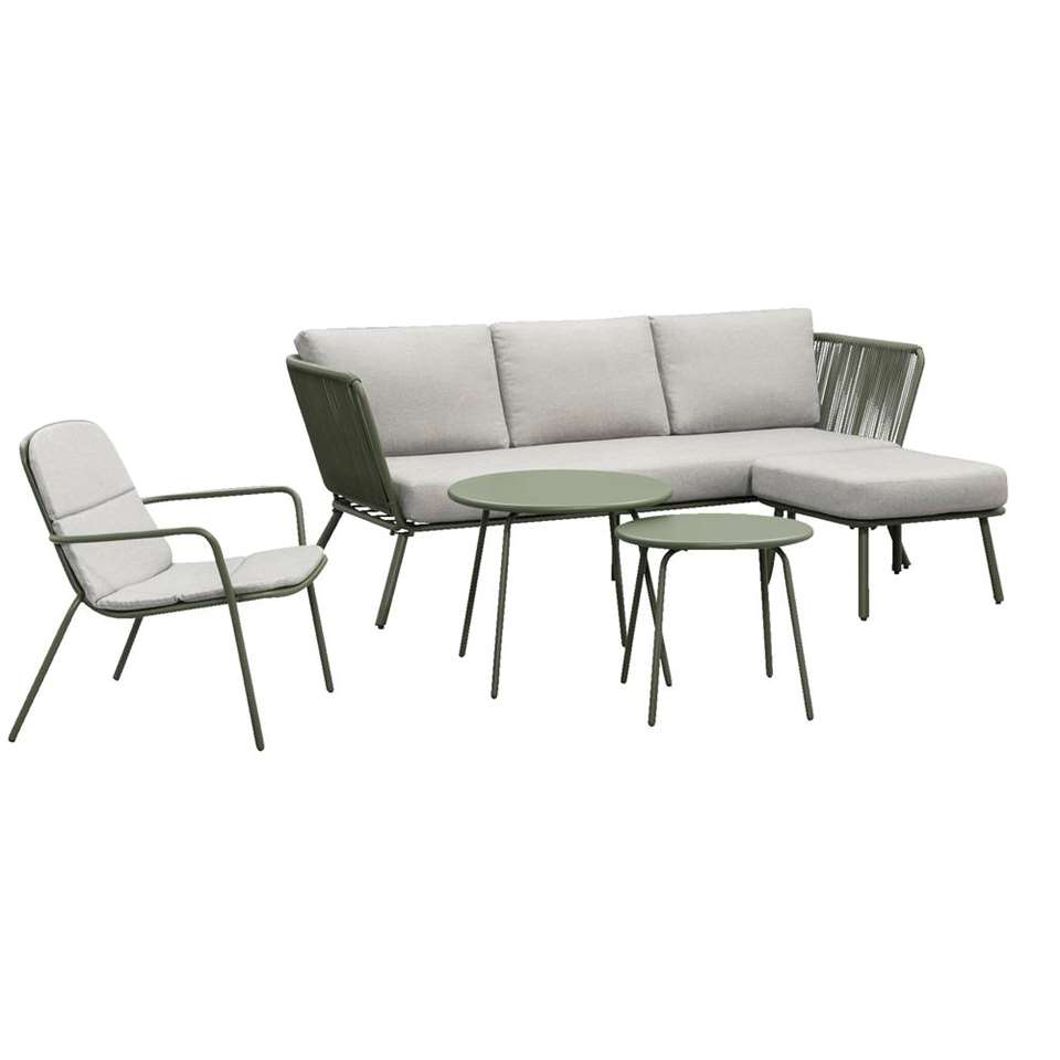 Salon lounge Almeria Vilanova - vert olive - 5 pièces