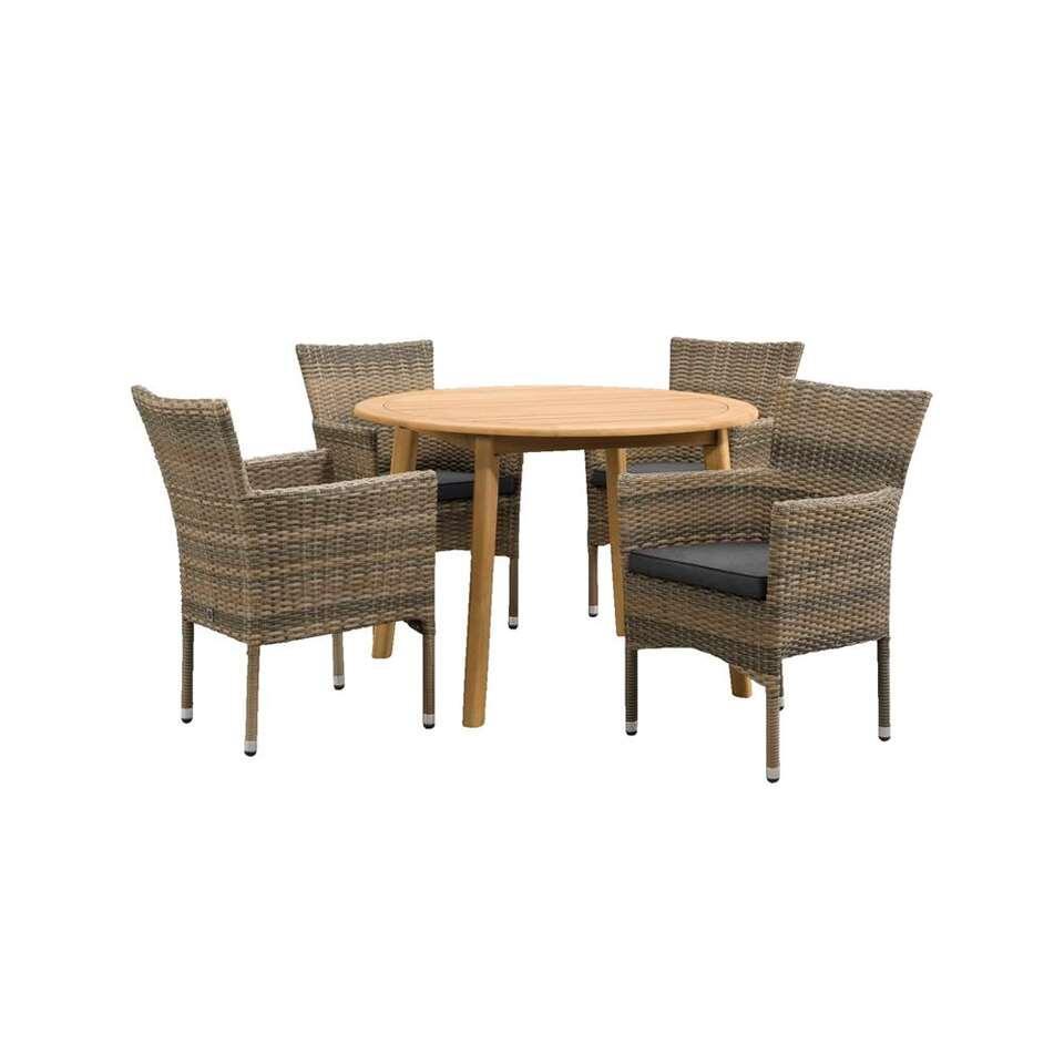 Le Sud salon de jardin Verona chaise empilable Dijon ronde - 5 pièces