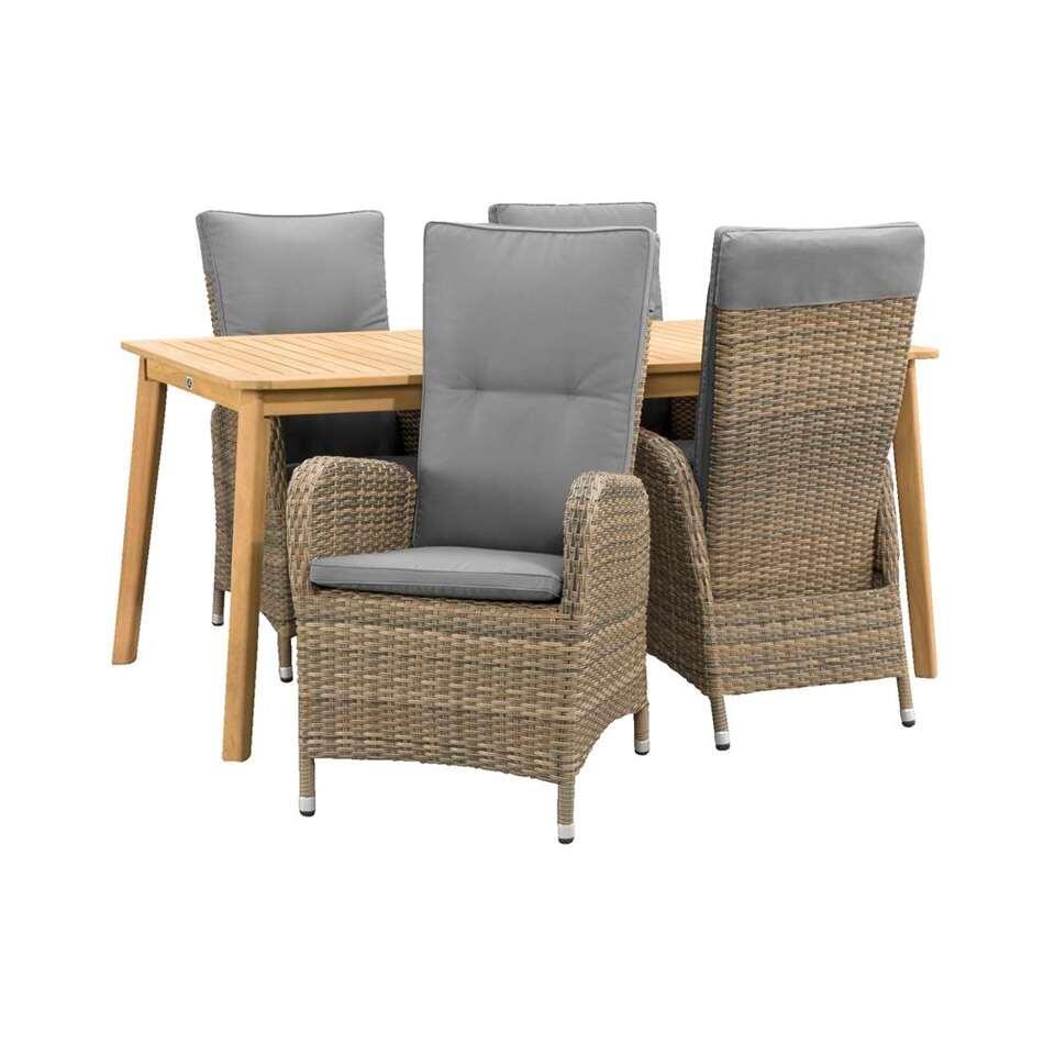 Le Sud salon de jardin Verona fauteuil réglable Dijon - 5 pièces