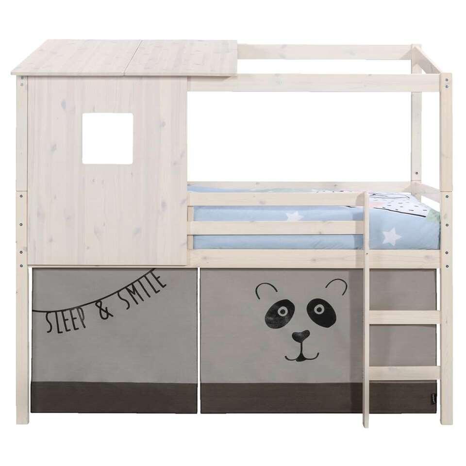 Halfhoogslaper 190 Cm.Halfhoogslaper Ties Met Opzetdak En Bedtent Panda Whitewash