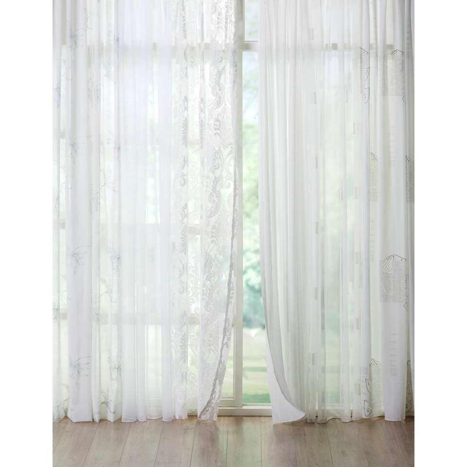Voile Cynthia - wit/zilver - 150 cm